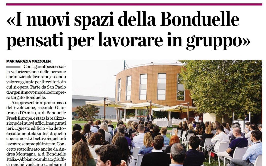 Su L'Eco di Bergamo parlano dei nuovi uffici di Bonduelle progettati da Simone Casella e il team di Workitect